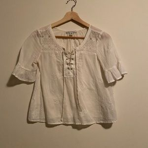 AEO embroidered lace up blouse